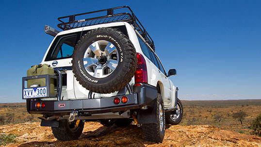 ARB achterbumper met reservewielsteun en jerrycanhouder Nissan Patrol