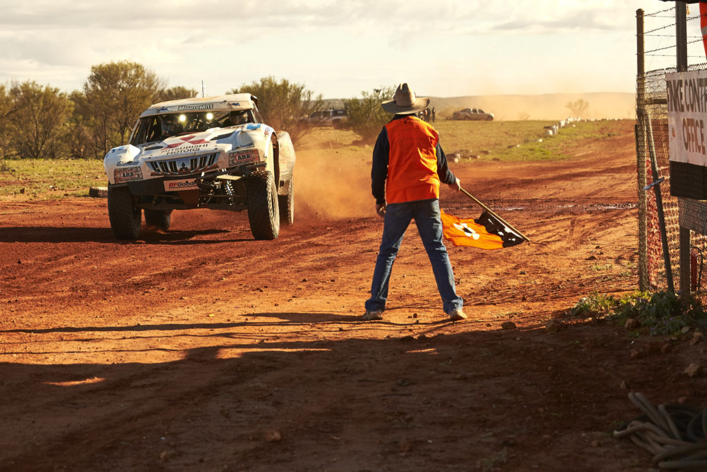 Toby reaches half way at the Finke finish line